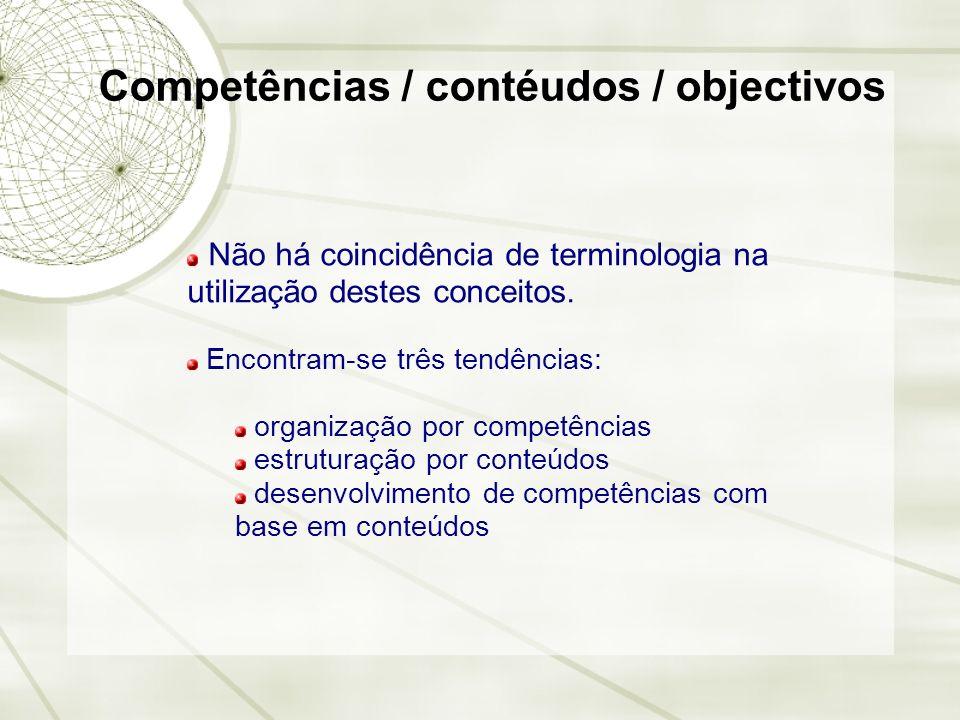 Competências / contéudos / objectivos Não há coincidência de terminologia na utilização destes conceitos. Encontram-se três tendências: organização po