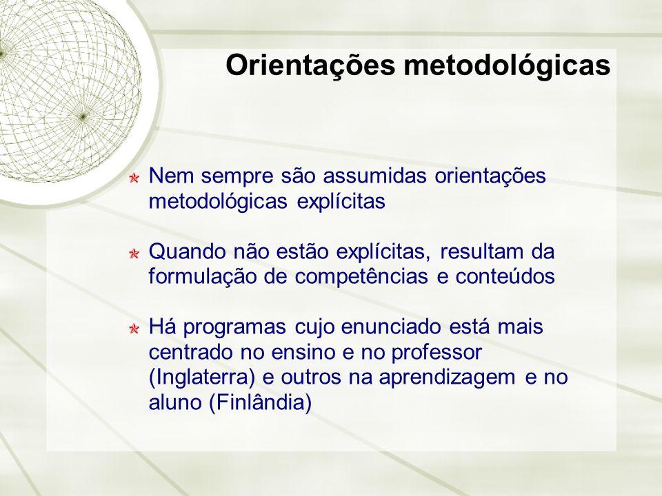 Orientações metodológicas Nem sempre são assumidas orientações metodológicas explícitas Quando não estão explícitas, resultam da formulação de competê