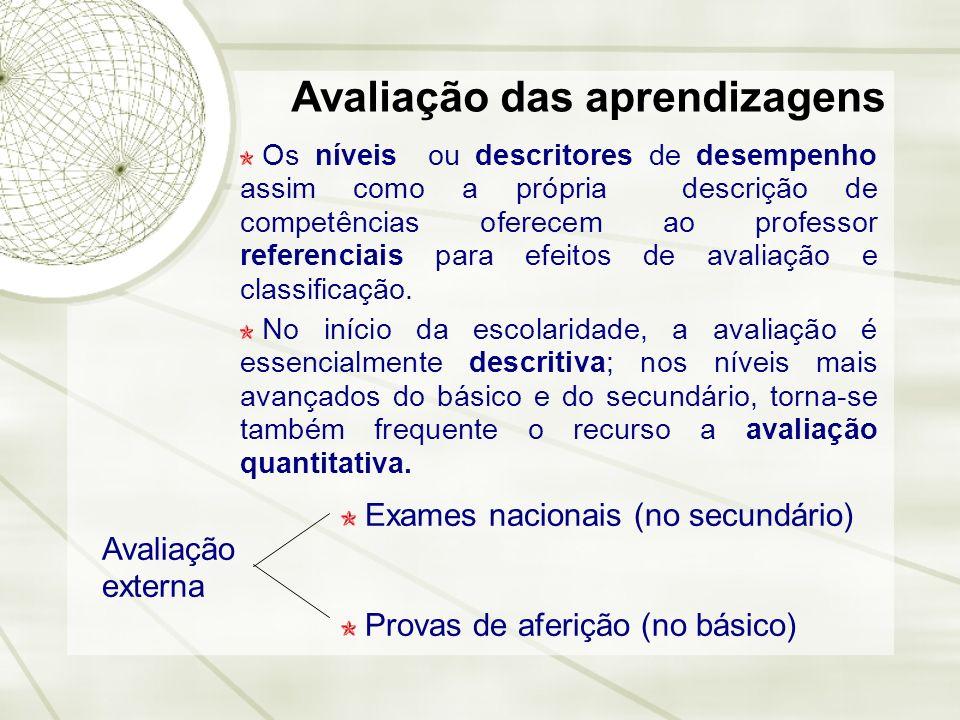 Avaliação das aprendizagens Exames nacionais (no secundário) Provas de aferição (no básico) Os níveis ou descritores de desempenho assim como a própri