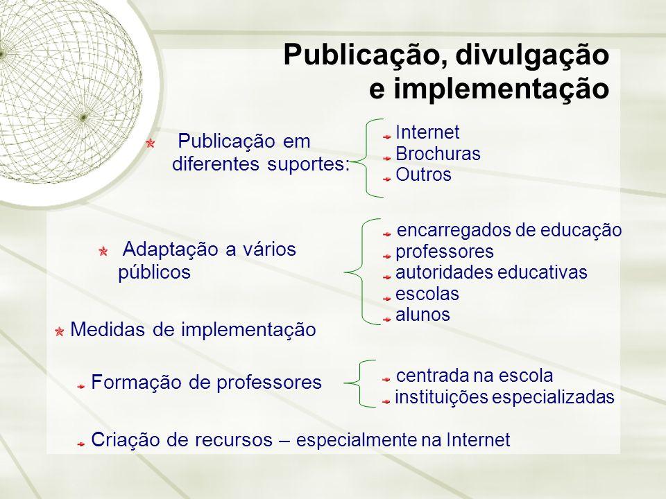 Publicação, divulgação e implementação Publicação em diferentes suportes: Internet Brochuras Outros Adaptação a vários públicos encarregados de educaç