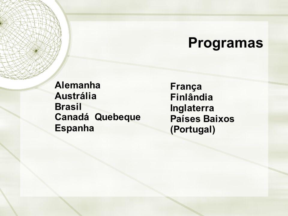Programas Alemanha Austrália Brasil Canadá  Quebeque Espanha França Finlândia Inglaterra Países Baixos (Portugal)