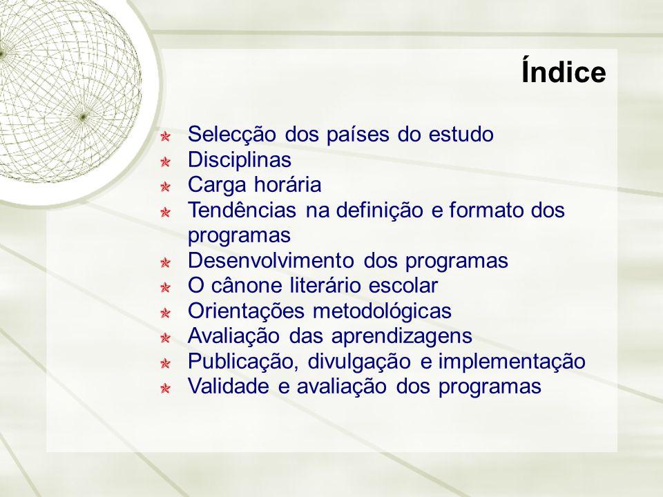 Selecção dos países do estudo Disciplinas Carga horária Tendências na definição e formato dos programas Desenvolvimento dos programas O cânone literár