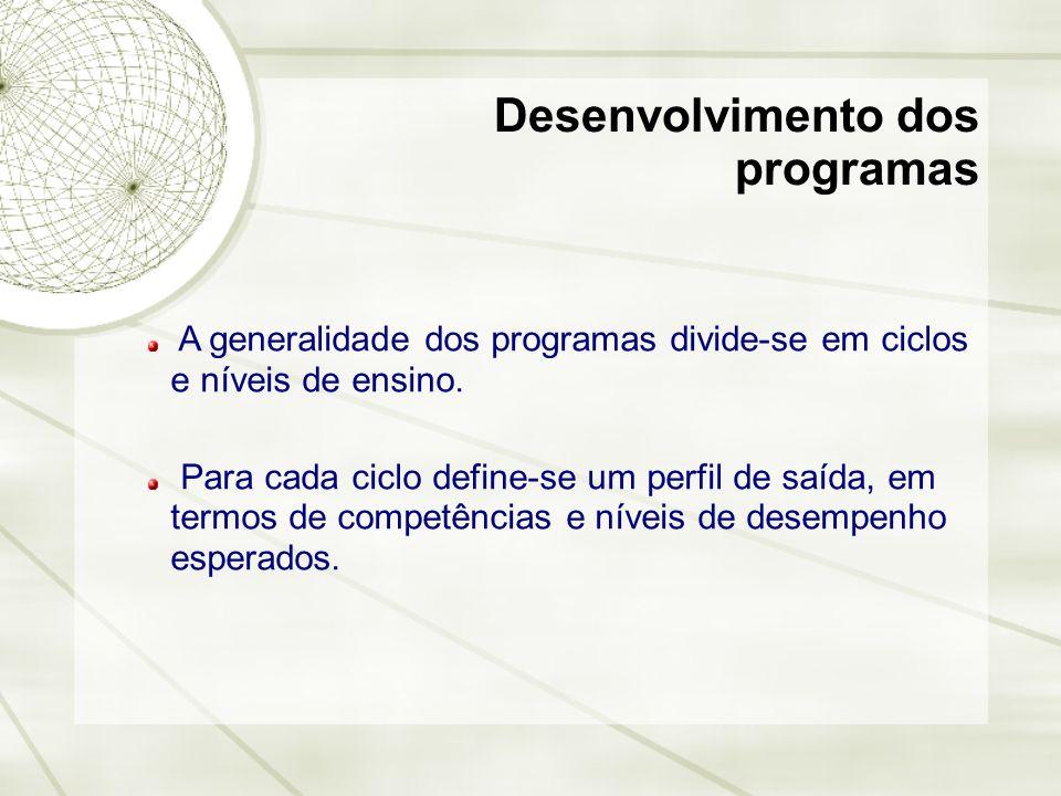 Desenvolvimento dos programas A generalidade dos programas divide-se em ciclos e níveis de ensino. Para cada ciclo define-se um perfil de saída, em te