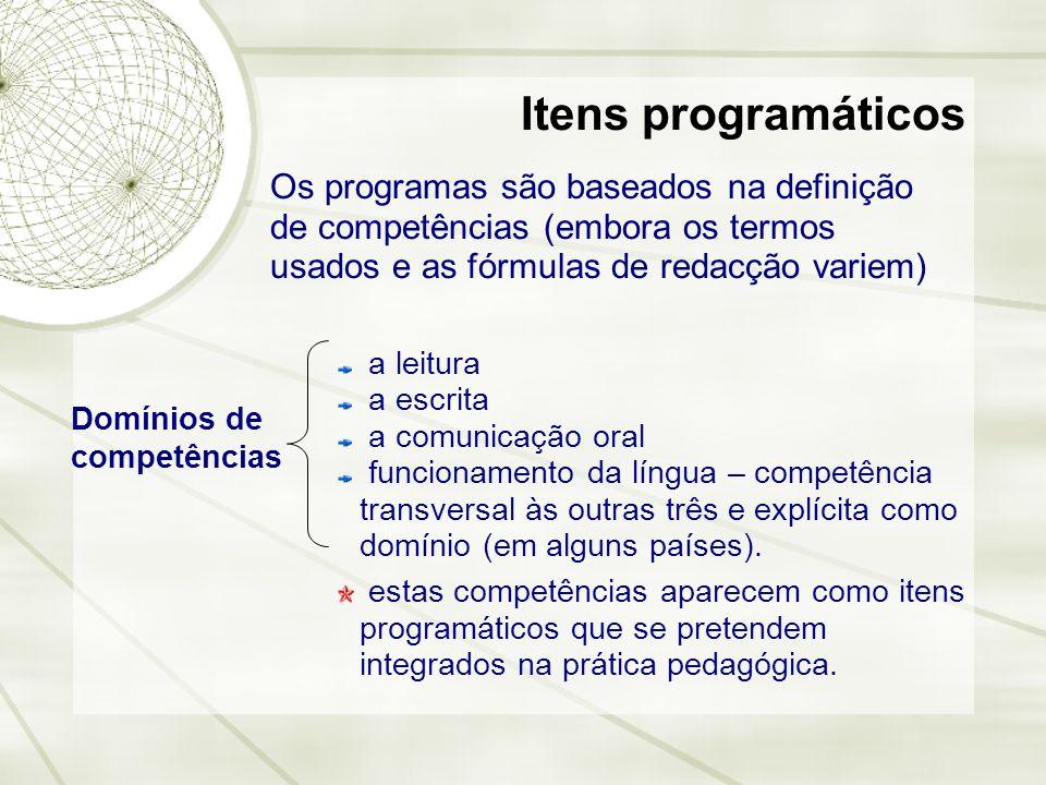 Itens programáticos Os programas são baseados na definição de competências (embora os termos usados e as fórmulas de redacção variem) Domínios de comp