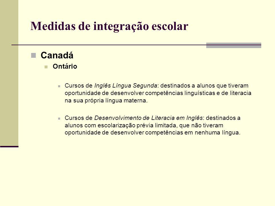 Medidas de integração escolar Canadá Ontário Cursos de Inglês Língua Segunda: destinados a alunos que tiveram oportunidade de desenvolver competências