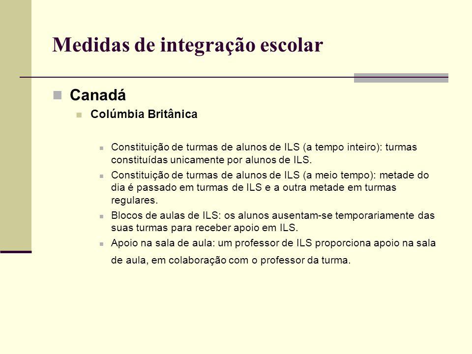 Medidas de integração escolar Canadá Colúmbia Britânica Constituição de turmas de alunos de ILS (a tempo inteiro): turmas constituídas unicamente por