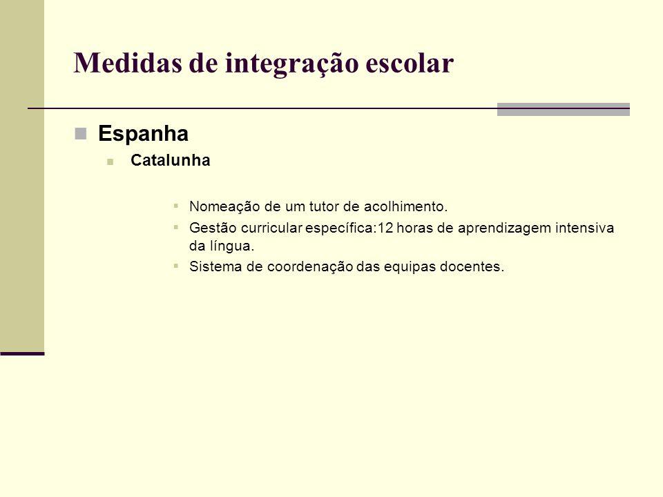 Medidas de integração escolar Espanha Catalunha Nomeação de um tutor de acolhimento. Gestão curricular específica:12 horas de aprendizagem intensiva d
