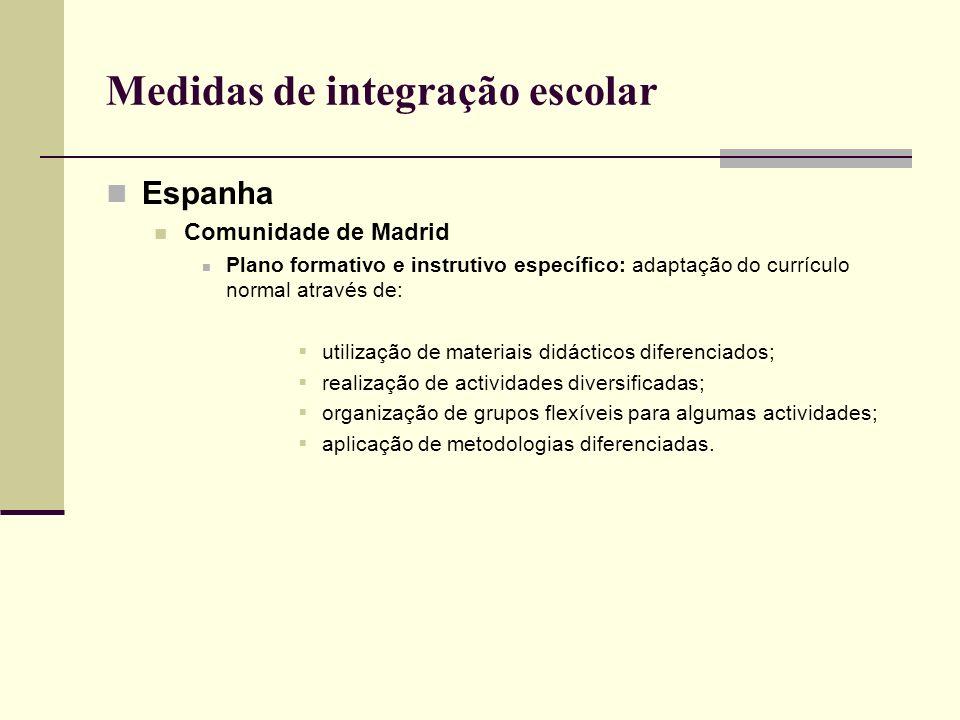 Medidas de integração escolar Espanha Comunidade de Navarra Programa específico de aprendizagem intensiva da língua e cultura Duração: 4 a 8 meses (até atingir o nível A2, após o qual se dá a integração no currículo regular).