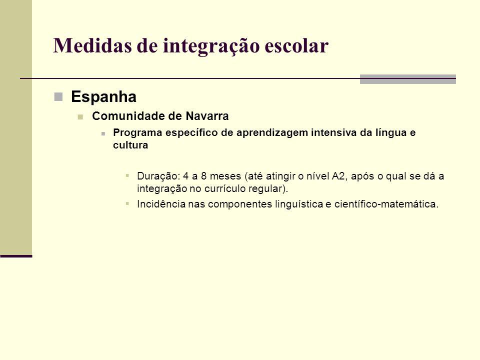 Medidas de integração escolar Espanha Comunidade de Navarra Programa específico de aprendizagem intensiva da língua e cultura Duração: 4 a 8 meses (at