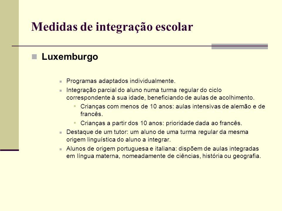 Medidas de integração escolar Luxemburgo Programas adaptados individualmente. Integração parcial do aluno numa turma regular do ciclo correspondente à