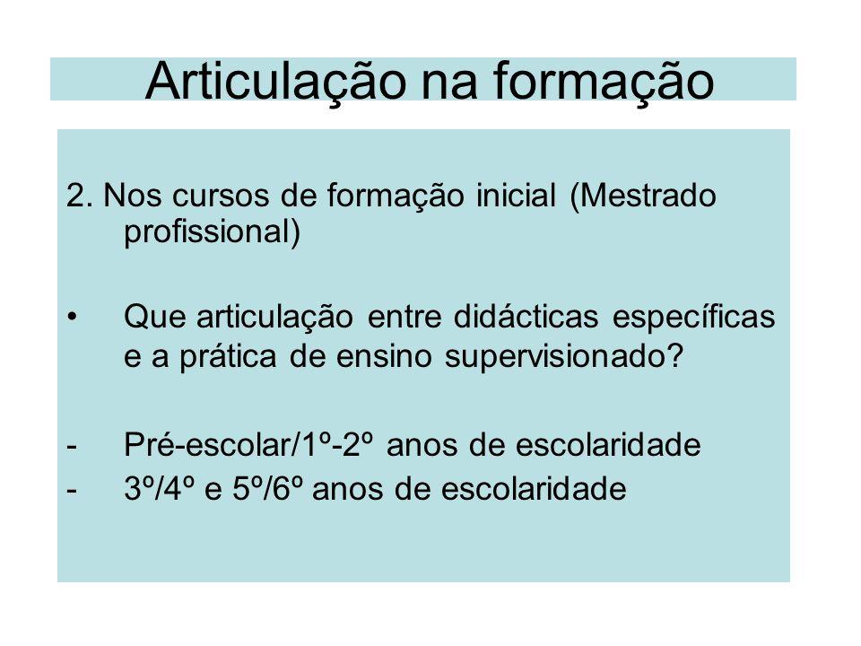Articulação na formação 2. Nos cursos de formação inicial (Mestrado profissional) Que articulação entre didácticas específicas e a prática de ensino s