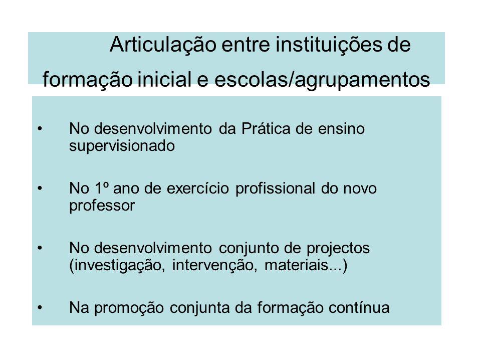 Articulação entre instituições de formação inicial e escolas/agrupamentos No desenvolvimento da Prática de ensino supervisionado No 1º ano de exercíci