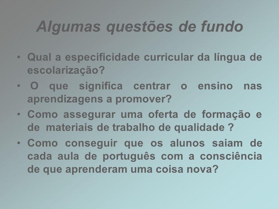 Algumas questões de fundo Qual a especificidade curricular da língua de escolarização? O que significa centrar o ensino nas aprendizagens a promover?