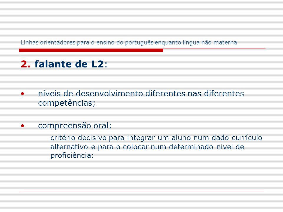 Linhas orientadores para o ensino do português enquanto língua não materna 2. falante de L2: níveis de desenvolvimento diferentes nas diferentes compe