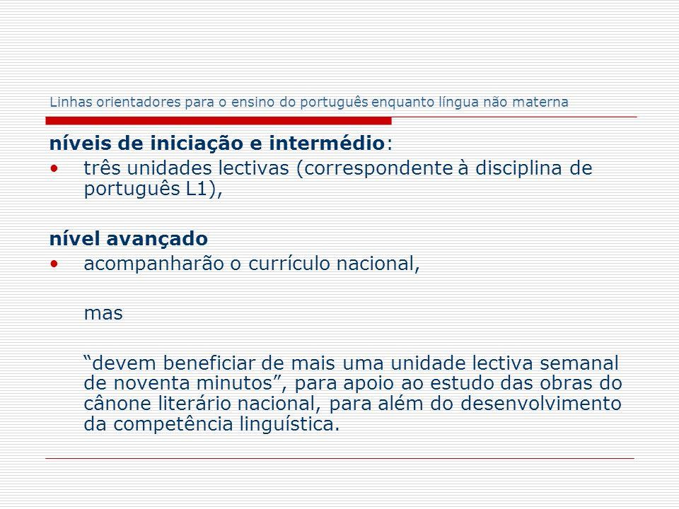 Linhas orientadores para o ensino do português enquanto língua não materna níveis de iniciação e intermédio: três unidades lectivas (correspondente à