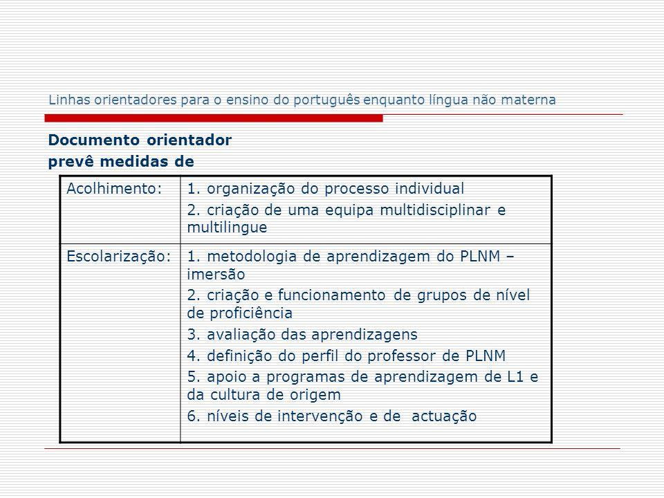 Linhas orientadores para o ensino do português enquanto língua não materna Grupos de nível de proficiência linguística (artigo 2º) a) Iniciação (A1, A2) b) Intermédio (B1) c) Avançado (B2, C1)