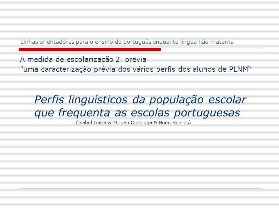 Linhas orientadores para o ensino do português enquanto língua não materna Neste texto, traça-se o perfil da actual população escolar, em função das suas línguas e culturas...