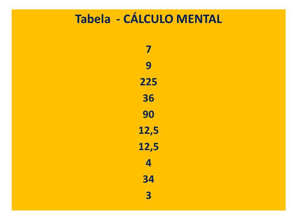 Tabela - CÁLCULO MENTAL 7 9 225 36 90 12,5 4 34 3