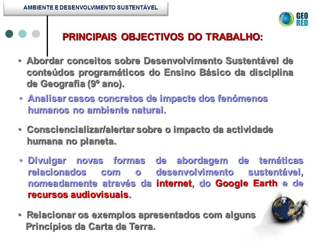 Abordar conceitos sobre Desenvolvimento Sustentável de conteúdos programáticos do Ensino Básico da disciplina de Geografia (9º ano).Abordar conceitos
