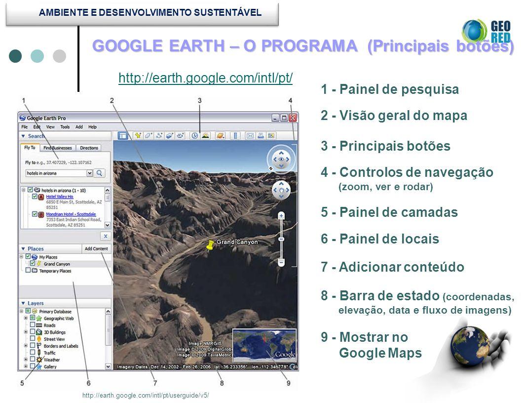 GOOGLE EARTH – O PROGRAMA (Principais botões) http://earth.google.com/intl/pt/ http://earth.google.com/intl/pt/userguide/v5/ 1 - Painel de pesquisa 2