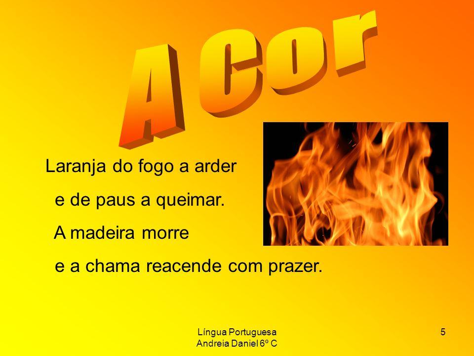 Língua Portuguesa Andreia Daniel 6º C 5 Laranja do fogo a arder e de paus a queimar. A madeira morre e a chama reacende com prazer.