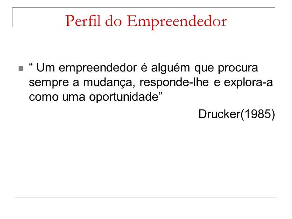 Perfil do Empreendedor Um empreendedor é alguém que procura sempre a mudança, responde-lhe e explora-a como uma oportunidade Drucker(1985)