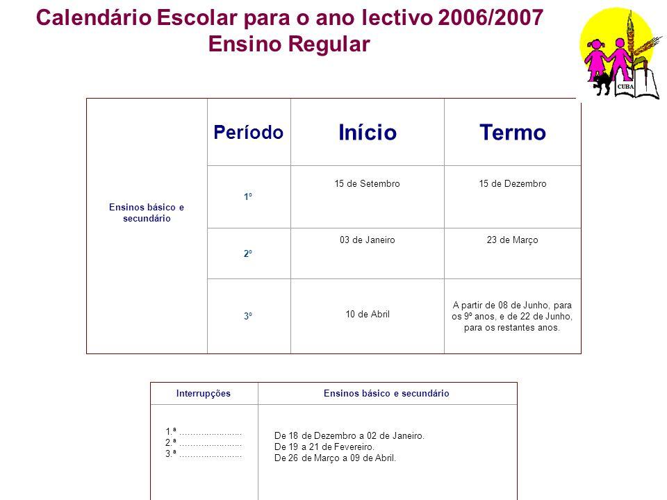 Ensinos básico e secundário Período InícioTermo 1º 15 de Setembro15 de Dezembro 2º 03 de Janeiro23 de Março 3º 10 de Abril A partir de 08 de Junho, pa