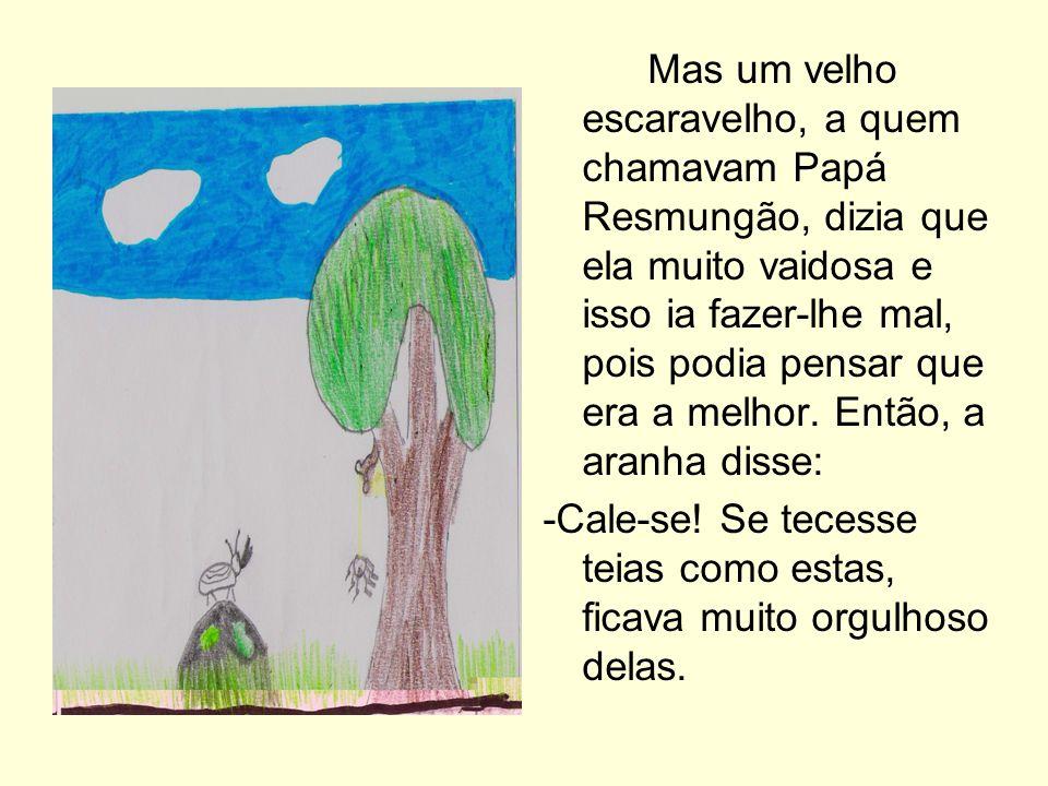 Mas um velho escaravelho, a quem chamavam Papá Resmungão, dizia que ela muito vaidosa e isso ia fazer-lhe mal, pois podia pensar que era a melhor. Ent