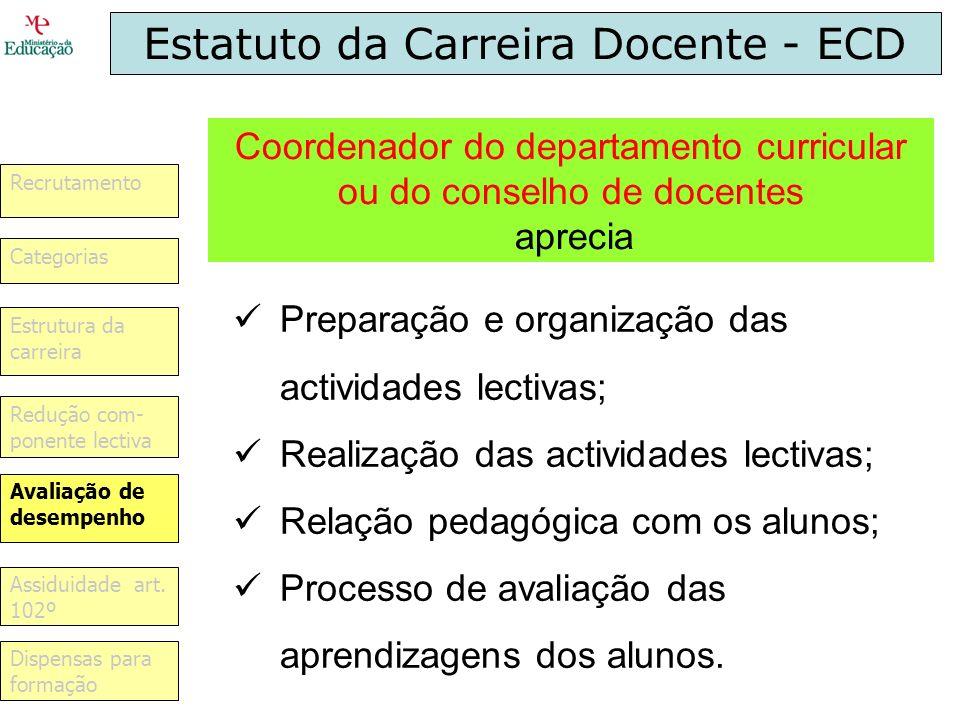 Estatuto da Carreira Docente - ECD Preparação e organização das actividades lectivas; Realização das actividades lectivas; Relação pedagógica com os a