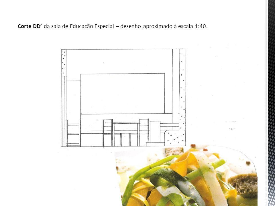 Corte DD da sala de Educação Especial – desenho aproximado à escala 1:40.