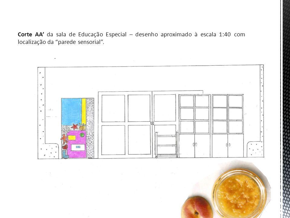 Corte AA da sala de Educação Especial – desenho aproximado à escala 1:40 com localização da parede sensorial.