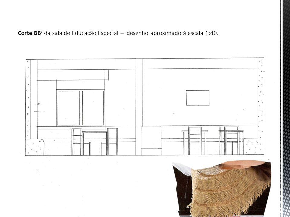 Corte CC da sala de Educação Especial – desenho aproximado à escala 1:40 com localização da parede sensorial.