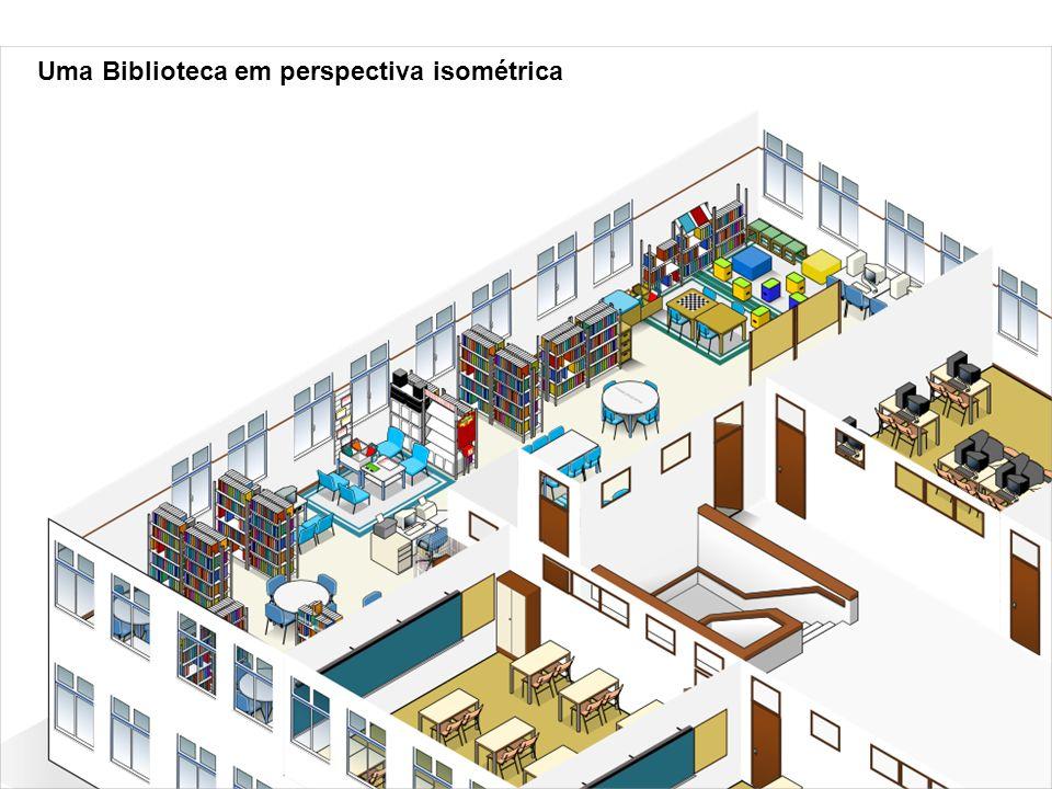 Uma Biblioteca em perspectiva isométrica