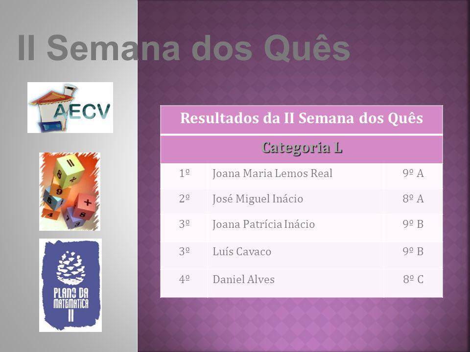 II Semana dos Quês Resultados da II Semana dos Quês Categoria L 1ºJoana Maria Lemos Real9º A 2ºJosé Miguel Inácio8º A 3ºJoana Patrícia Inácio9º B 3ºLuís Cavaco9º B 4ºDaniel Alves8º C