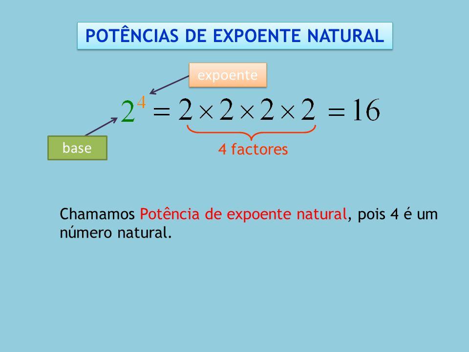 4 factores Chamamos Potência de expoente natural, pois 4 é um número natural. POTÊNCIAS DE EXPOENTE NATURAL base expoente