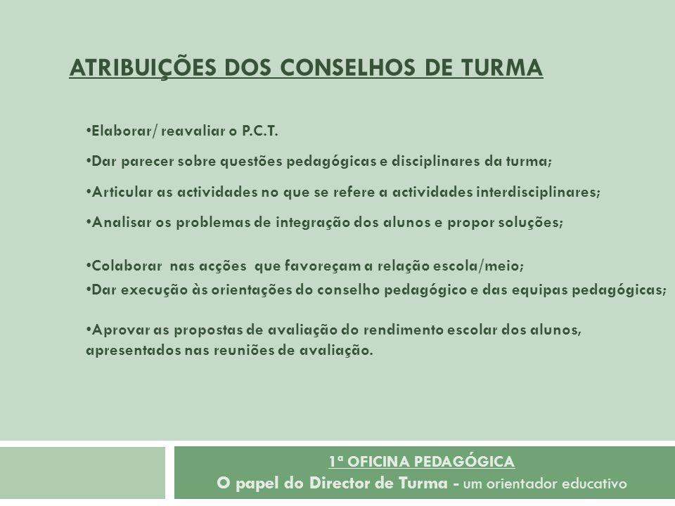 1ª OFICINA PEDAGÓGICA O papel do Director de Turma - um orientador educativo Elaborar/ reavaliar o P.C.T. Dar parecer sobre questões pedagógicas e dis
