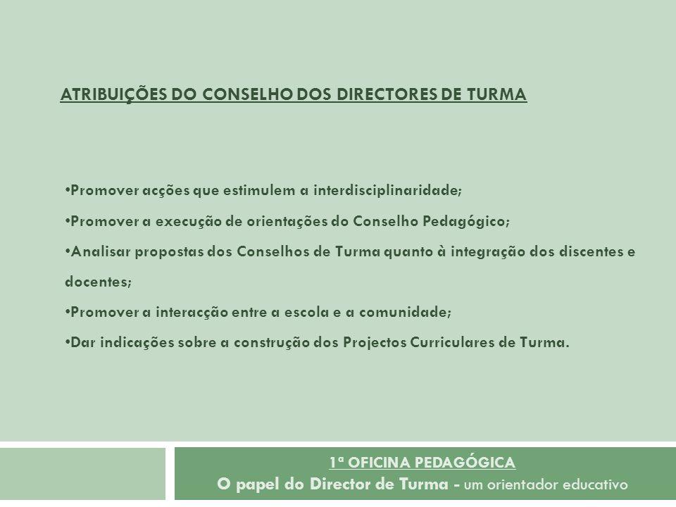 1ª OFICINA PEDAGÓGICA O papel do Director de Turma - um orientador educativo Promover acções que estimulem a interdisciplinaridade; Promover a execuçã