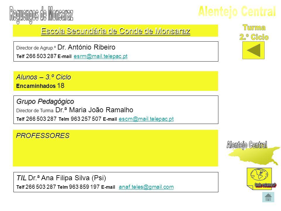 Escola Secundária de Conde de Monsaraz Director de Agrup.º Dr. António Ribeiro Telf 266 503 287 E-mail esrm@mail.telepac.pt esrm@mail.telepac.pt Aluno