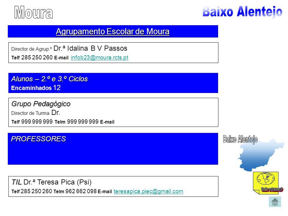 Agrupamento Escolar de Moura Director de Agrup.º Dr.ª Idalina B V Passos Telf 285 250 260 E-mail infob23@moura.rcts.pt infob23@moura.rcts.pt Alunos –