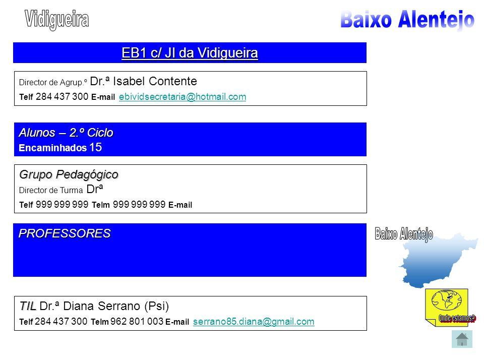 EB1 c/ JI da Vidigueira Director de Agrup.º Dr.ª Isabel Contente Telf 284 437 300 E-mail ebividsecretaria@hotmail.com ebividsecretaria@hotmail.com Alu