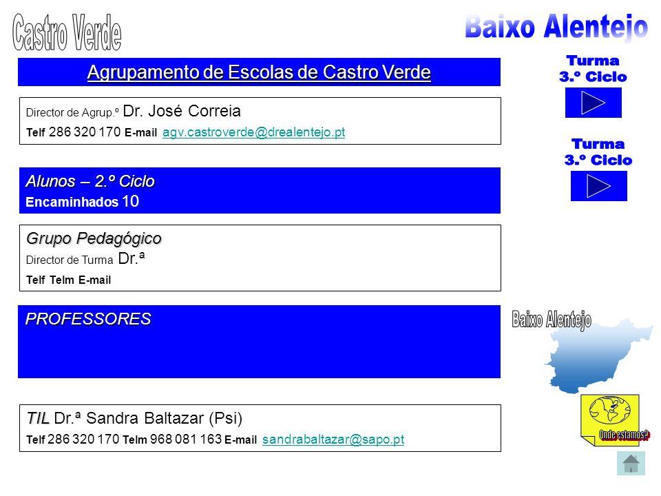 Agrupamento de Escolas de Castro Verde Director de Agrup.º Dr. José Correia Telf 286 320 170 E-mail agv.castroverde@drealentejo.pt agv.castroverde@dre