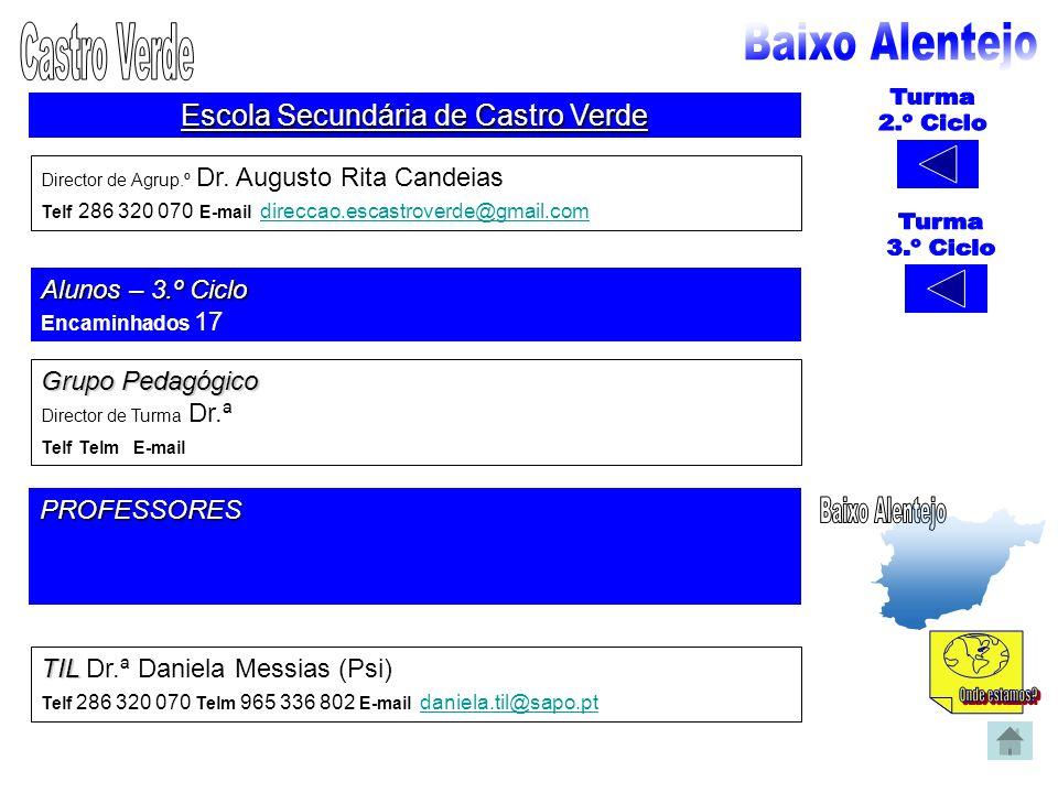 Escola Secundária de Castro Verde Director de Agrup.º Dr. Augusto Rita Candeias Telf 286 320 070 E-mail direccao.escastroverde@gmail.com direccao.esca