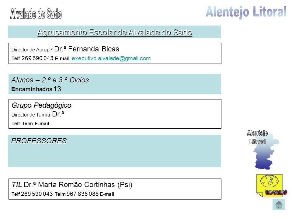 Agrupamento Escolar de Alvalade do Sado Director de Agrup.º Dr.ª Fernanda Bicas Telf 269 590 043 E-mail executivo.alvalade@gmail.com executivo.alvalad