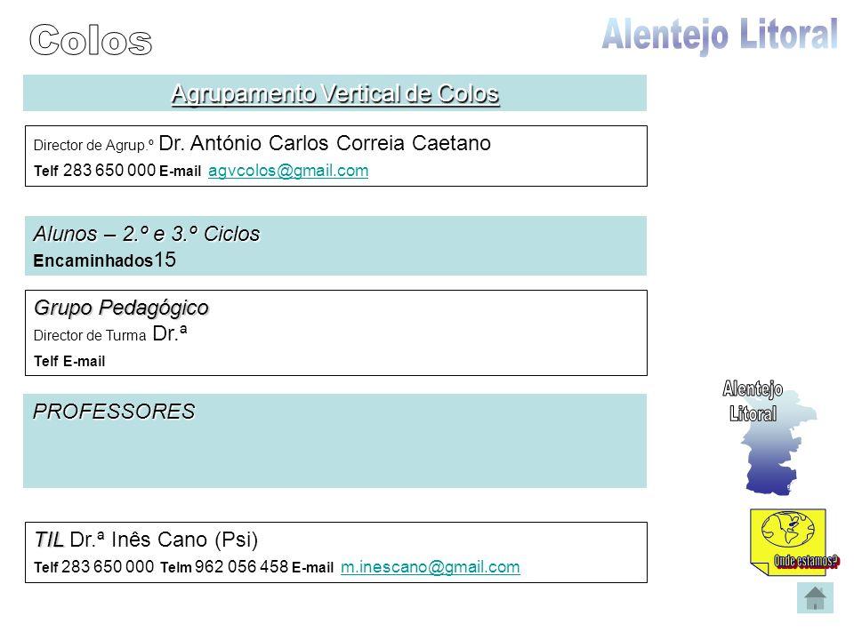 Agrupamento Vertical de Colos Director de Agrup.º Dr. António Carlos Correia Caetano Telf 283 650 000 E-mail agvcolos@gmail.com agvcolos@gmail.com Alu