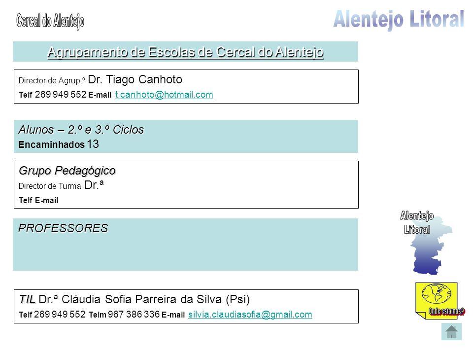 Agrupamento de Escolas de Cercal do Alentejo Director de Agrup.º Dr. Tiago Canhoto Telf 269 949 552 E-mail t.canhoto@hotmail.com t.canhoto@hotmail.com
