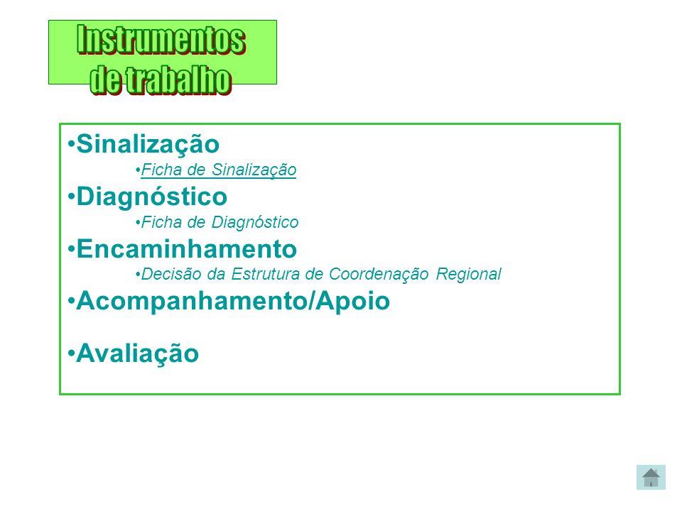 Sinalização Ficha de Sinalização Diagnóstico Ficha de Diagnóstico Encaminhamento Decisão da Estrutura de Coordenação Regional Acompanhamento/Apoio Ava