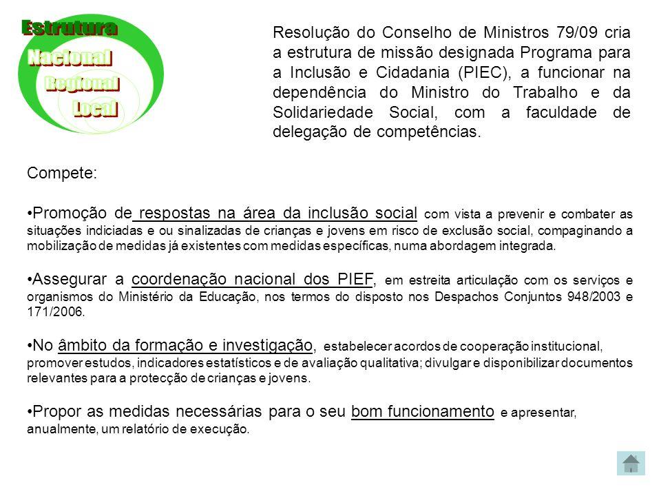 Resolução do Conselho de Ministros 79/09 cria a estrutura de missão designada Programa para a Inclusão e Cidadania (PIEC), a funcionar na dependência