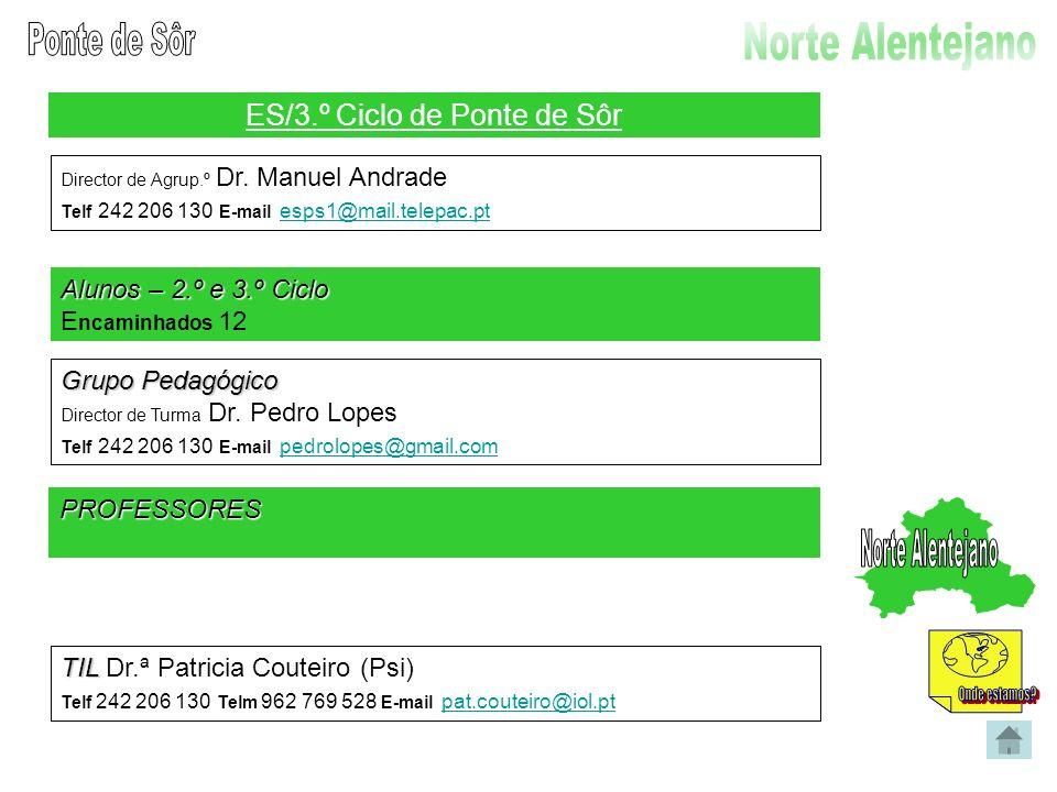 ES/3.º Ciclo de Ponte de Sôr Director de Agrup.º Dr. Manuel Andrade Telf 242 206 130 E-mail esps1@mail.telepac.pt esps1@mail.telepac.pt Alunos – 2.º e