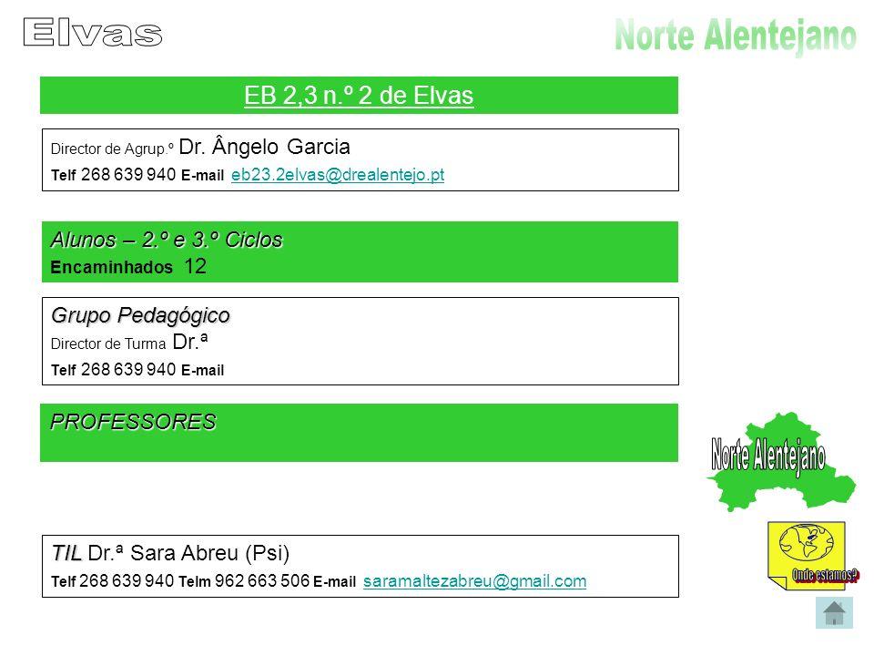 Agrupamento Escolar de Alvalade do Sado Director de Agrup.º Dr.ª Fernanda Bicas Telf 269 590 043 E-mail executivo.alvalade@gmail.com executivo.alvalade@gmail.com Alunos – 2.º e 3.º Ciclos Encaminhados 13 Grupo Pedagógico Director de Turma Dr.ª Telf Telm E-mail PROFESSORES TIL TIL Dr.ª Marta Romão Cortinhas (Psi) Telf 269 590 043 Telm 967 836 088 E-mail
