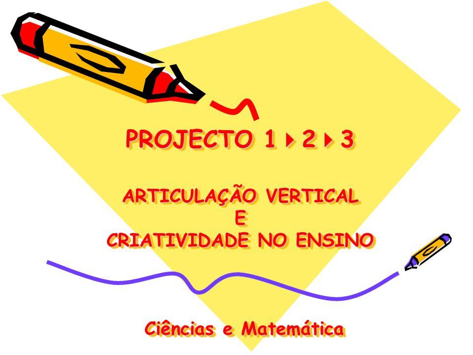 PROJECTO 1 2 3 ARTICULAÇÃO VERTICAL E CRIATIVIDADE NO ENSINO Ciências e Matemática